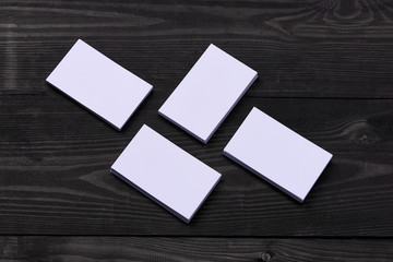 Mock-up with business cards. Template for branding identity on wooden background.