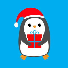 Penguin wearing Santa Claus red hat. Gift box. Cute cartoon kawaii funny animal character. Merry Christmas. Flat design. Winter blue background. Greeting card.