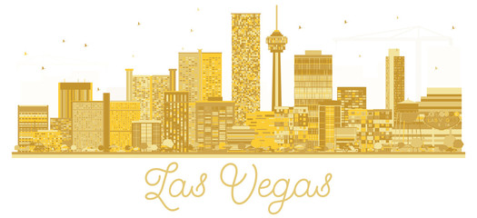 Las Vegas USA City skyline golden silhouette.