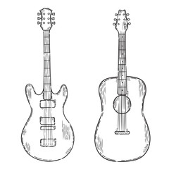 Vector hand drawn illustration. Icon guitar set.  Isolated on white background.
