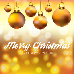 New year and Merry Christmas illustration, bokeh golden background with golden decoration and christmas balls.
