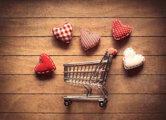 Shopping cart and heart shape toys