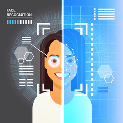 Face Recognition System Scanning Eye Retina Of Business Woman Modern Identification Technology Access Control Concept Vector Illustration