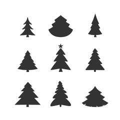 christmas tree vector icon set