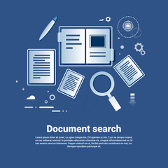 Document Search Template Web Banner With Copy Space Flat Vector Illustration