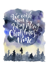 Christmas watercolor letteribg quote with abstract night sky and  silhouette woodland background