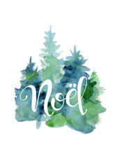 Christmas tree watercolor card with lettering quote Noel New Year card