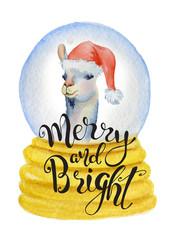 Cute lama in Santa hat inside Christmas globe watercolor hand drawn merry christmas illustration