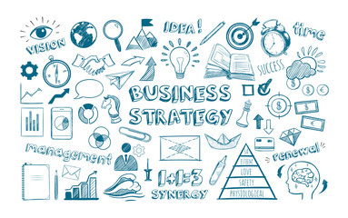 Business strategy. Vector hand drawn Infographic icons set. Financial managament and office isolated objects