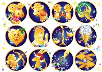 Zodiac signs. Christmas