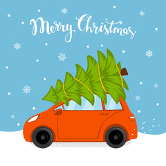 merry christmas cartoon card with car driving home  for xmas with pine tree bound on a roof top