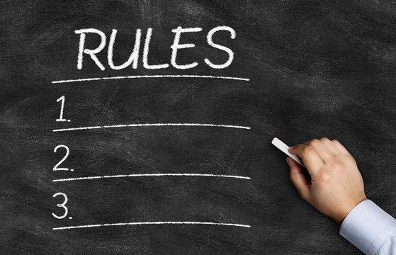 Rules List written on the blackboard