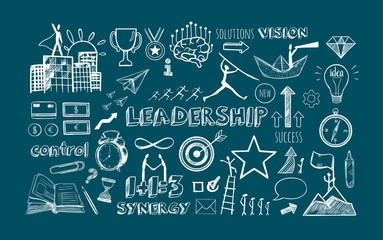 Leadership vector hand drawn Infographic icons set. Business strategy, financial managament and office isolated objects
