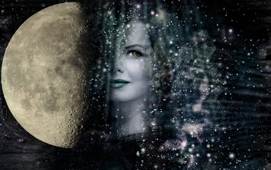 Woman ,Moon and Universe