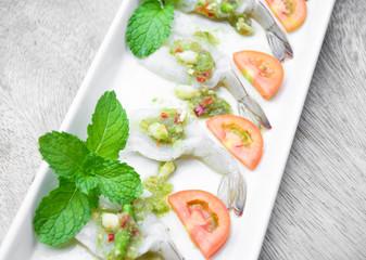 fresh shrimp in fish sauce, Thai cuisine food