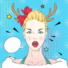 Pop Art Vintage advertising xmas poster comic girl in Christmas deer coctume holds a white banner. Vector illustration