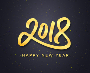 Happy New Year text and gold calligraphic number 2018 on black background with glitters. Greeting card design with lettering for winter holidays. Vector illustration