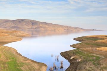 San Luis Reservoir Views in Autumn. Merced County, California, USA.