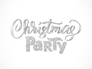 Christmas party hand written lettering isolated on white background. Sparkling glitter silver typography.