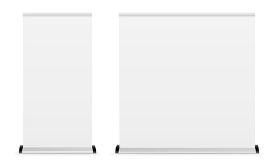 Blank roll-up banner isolated on white background. Two mockups to showcase your design projects in exhibition or presentation. Vector illustration