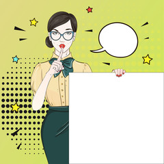 Pop Art Vintage advertising poster comic girl in yellow blouse holds a white banner calls for silence . Comic woman with speech bubble. Vector illustration
