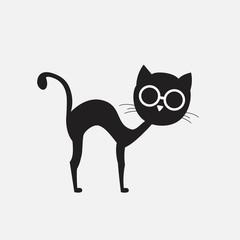 Black cat silhouette in glasses. Sketch.