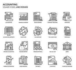 Accounting, square icon set