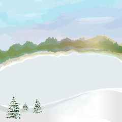 Winter landscape with  frozen lake,cloudy sky,snow, coniferous trees and forest