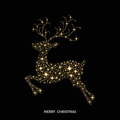 Christmas golden glowing  reindeer decorated with sparks.