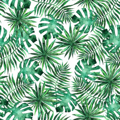 Seamless pattern with leaves and brunches of tropical plants and trees