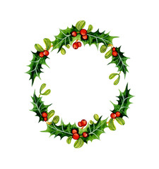 Christmas Holly wreath. Watercolor illustration isolated on white background.