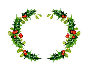 Christmas wreath. Holly and Mistletoe. Watercolor illustration isolated on white background. Hand painted.