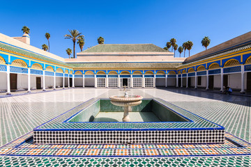 colorful patio of marrakech bahia palace, morocco