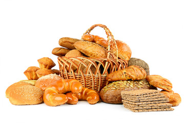 Collection of bread products isolated on white
