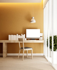 workplace and yellow wall in home or apartment - Interior design for artwork - 3D Rendering