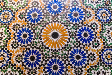 colorful tiles of marrakech bahia palace, morocco