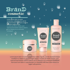 3D realistic cosmetic bottle ads template. Cosmetic brand advertising concept design with water bubbles and waterdrops background