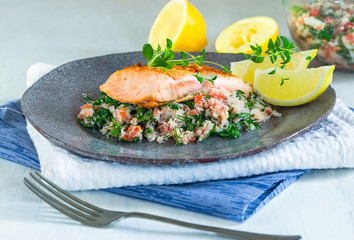 Salmon fillet with crab salsa