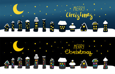 Hand drawn Christmas greeting card, banner with cute cartoon houses, covered with snow, at night, with brightly lit windows. Isolated objects. Vector illustration. Design concept kids, winter holidays