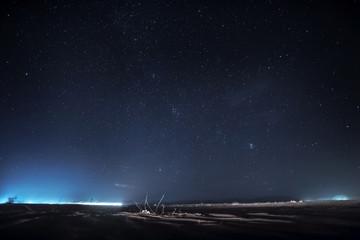 Night sky with stars. Wadi Rum Desert landscape