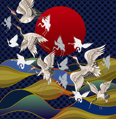 Japanese cranes against the background of the sunset and the sea. Japanese Traditional Painting for Printing