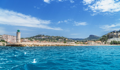 Cassis. Beach and town view from the sea. France. 01.08.2017