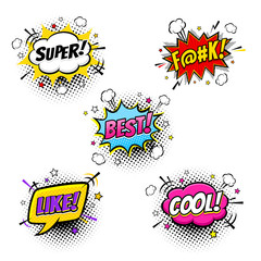 Comic speech bubbles and splashes set with different emotions and text Super, F@#k, Best, Like, Cool. Vector colorful dynamic cartoon illustrations on halftone isolated on white background.