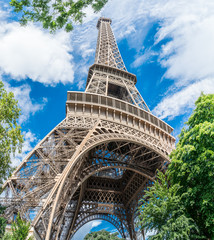 Eiffel tower in the summer time. Low angle view. 28/07/2017 Paris.France.