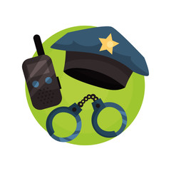 Policeman icon, police professional equipment cartoon vector Illustration