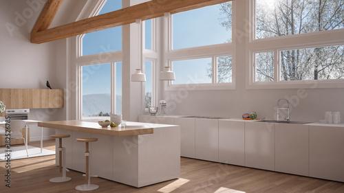 Modern Kitchen In Classic Villa, Loft, Big Panoramic Windows On Winter  Meadow, White