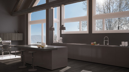 Modern kitchen in classic villa, loft, big panoramic windows on winter meadow, white and gray minimalist interior design