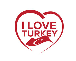 I love turkey with outline of heart and flag of turkey, icon design, isolated on white background.