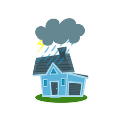 House struck by lightning, property insurance vector Illustration