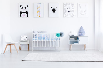 Boy's bedroom with white furniture
